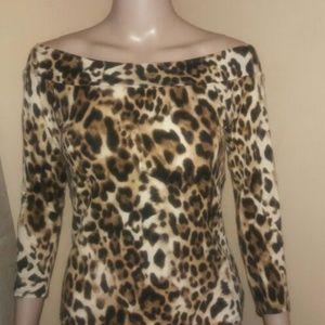 Cache animal printed top sland shoulder